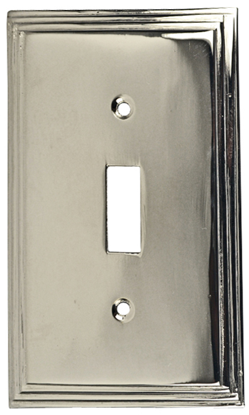 Solid Brass Colonial Style Switch Plate (Polished Nickel Finish)