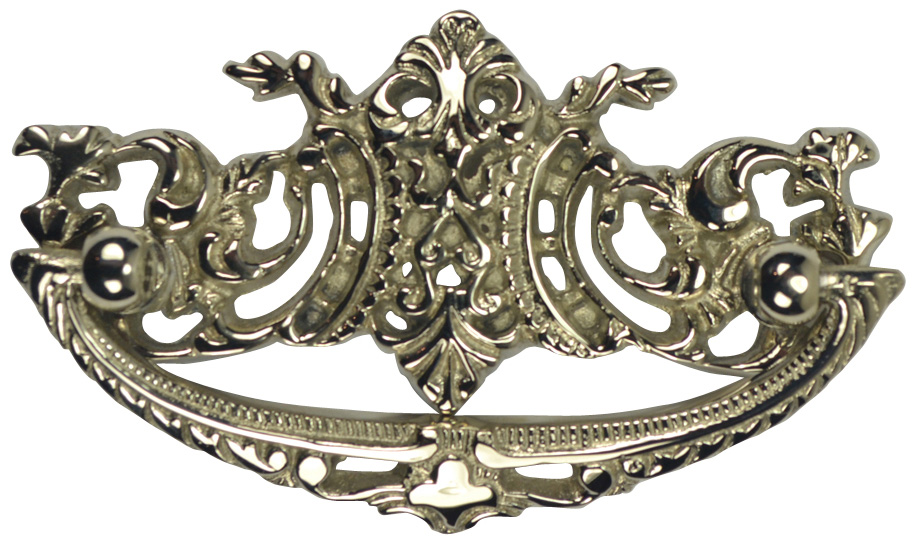 4 Inch Solid Brass Ornate Victorian Bail Pull (Polished Nickel Finish)