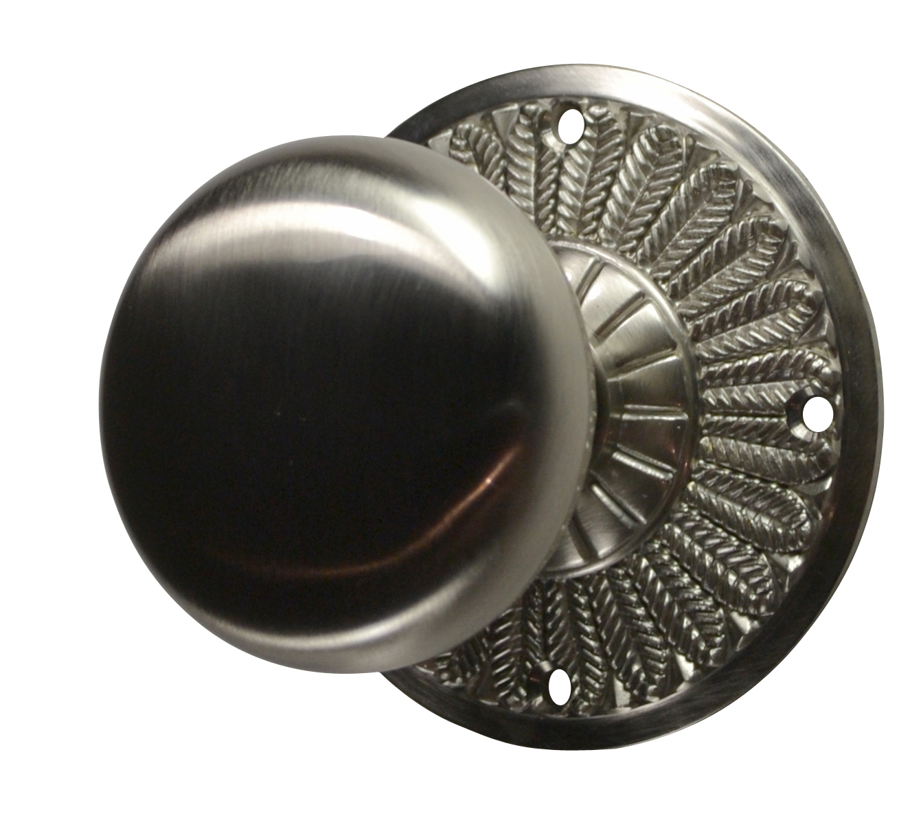 Feathers Round Brass Door Knob (Brushed Nickel Finish)