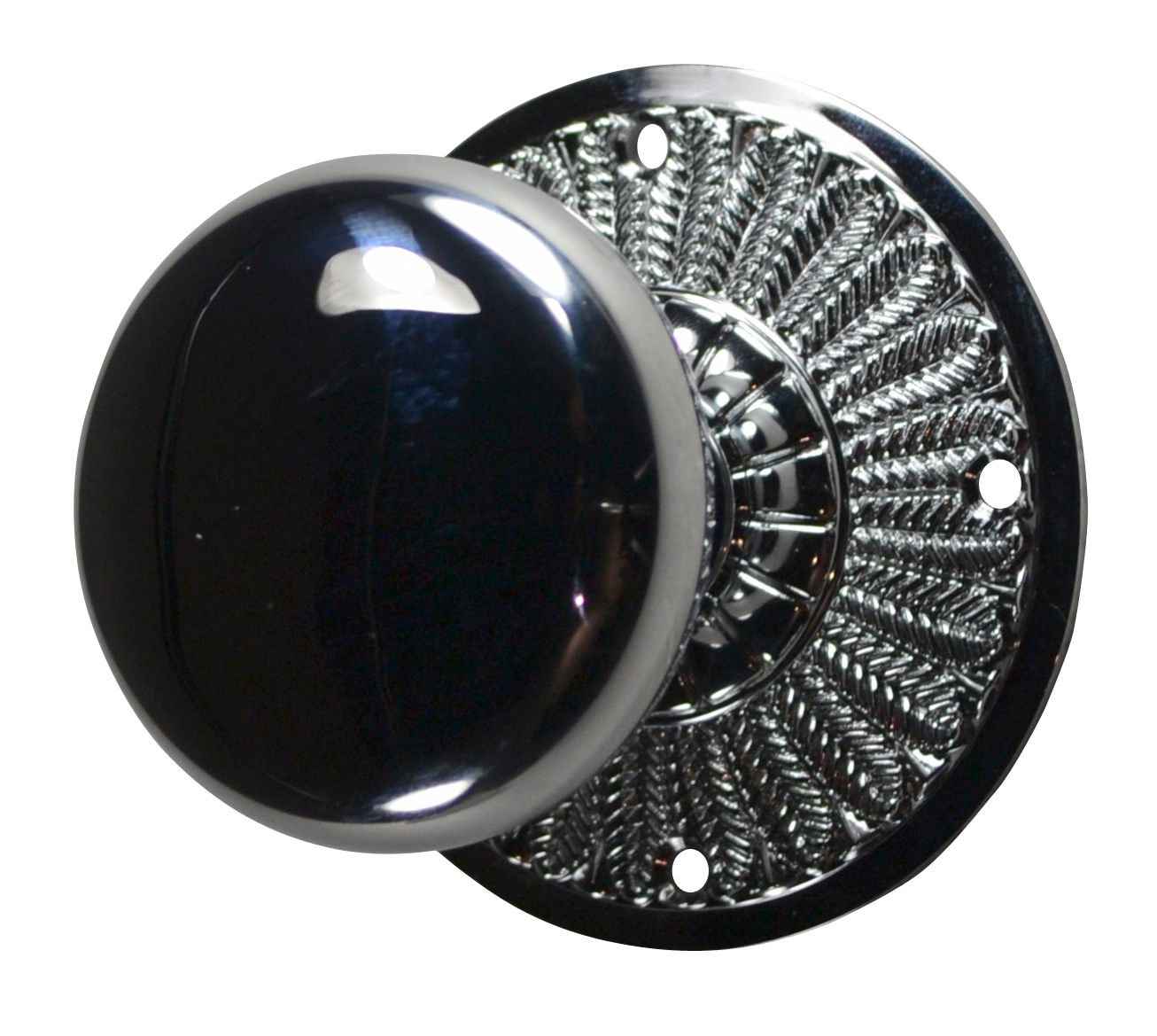 Feathers Round Brass Door Knob (Polished Chrome Finish)