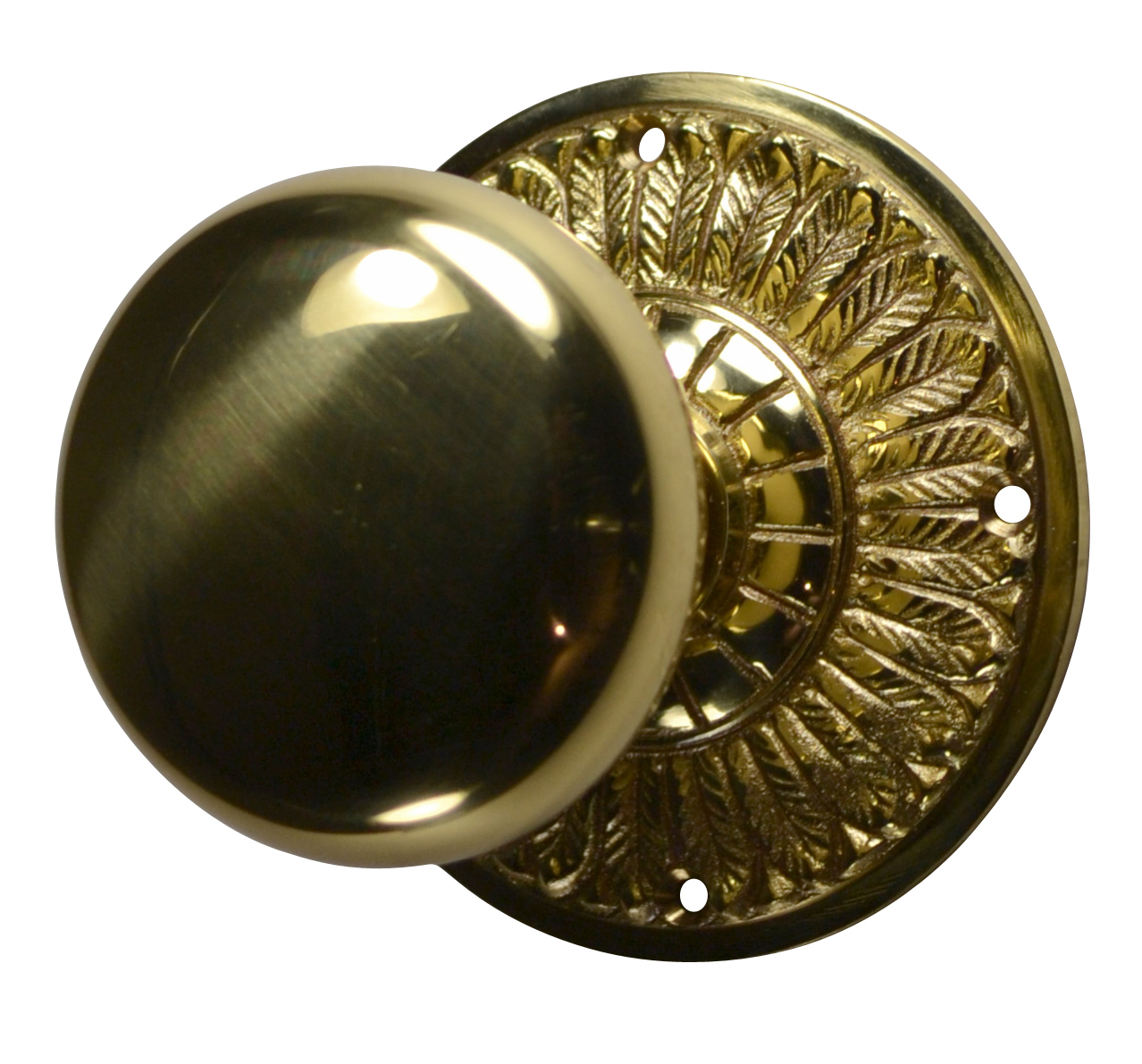 Feathers Round Brass Door Knob (Polished Brass Finish)