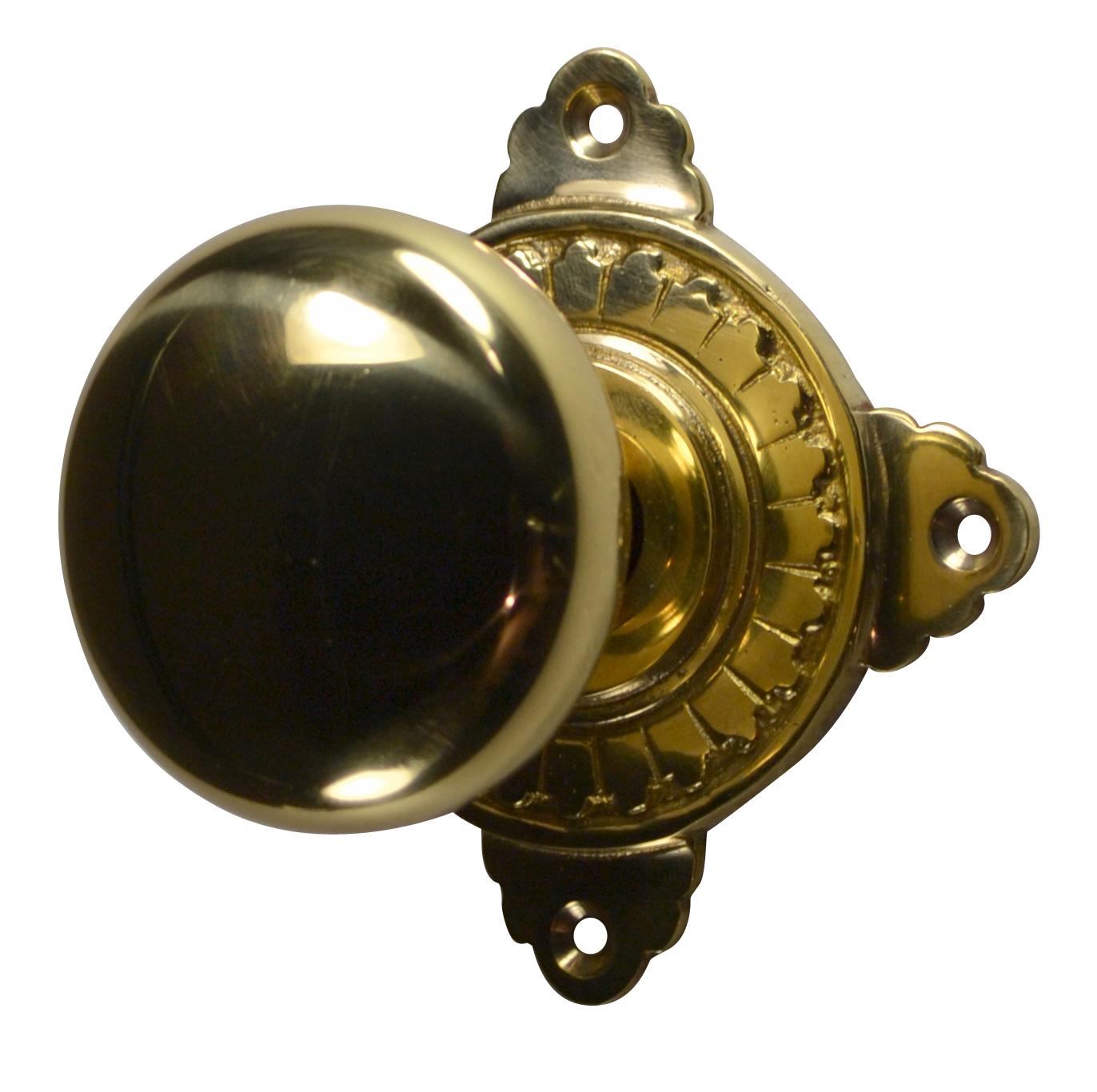 Round Brass Art Deco Door Knob (Polished Brass Finish)