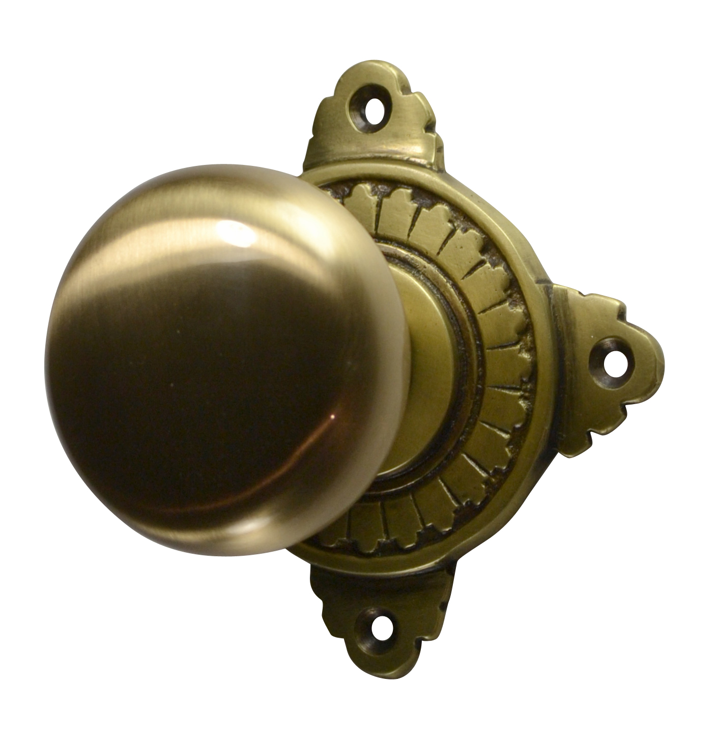 Round Brass Art Deco Door Knob (Antique Brass Finish)