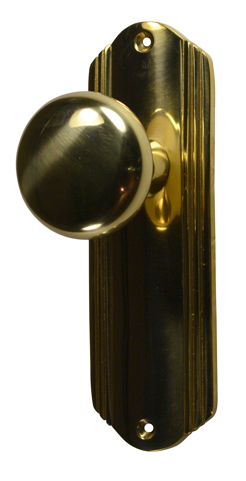 Solid Brass Round Door Knob Set with Art Deco Back Plate (Polished Brass Finish)
