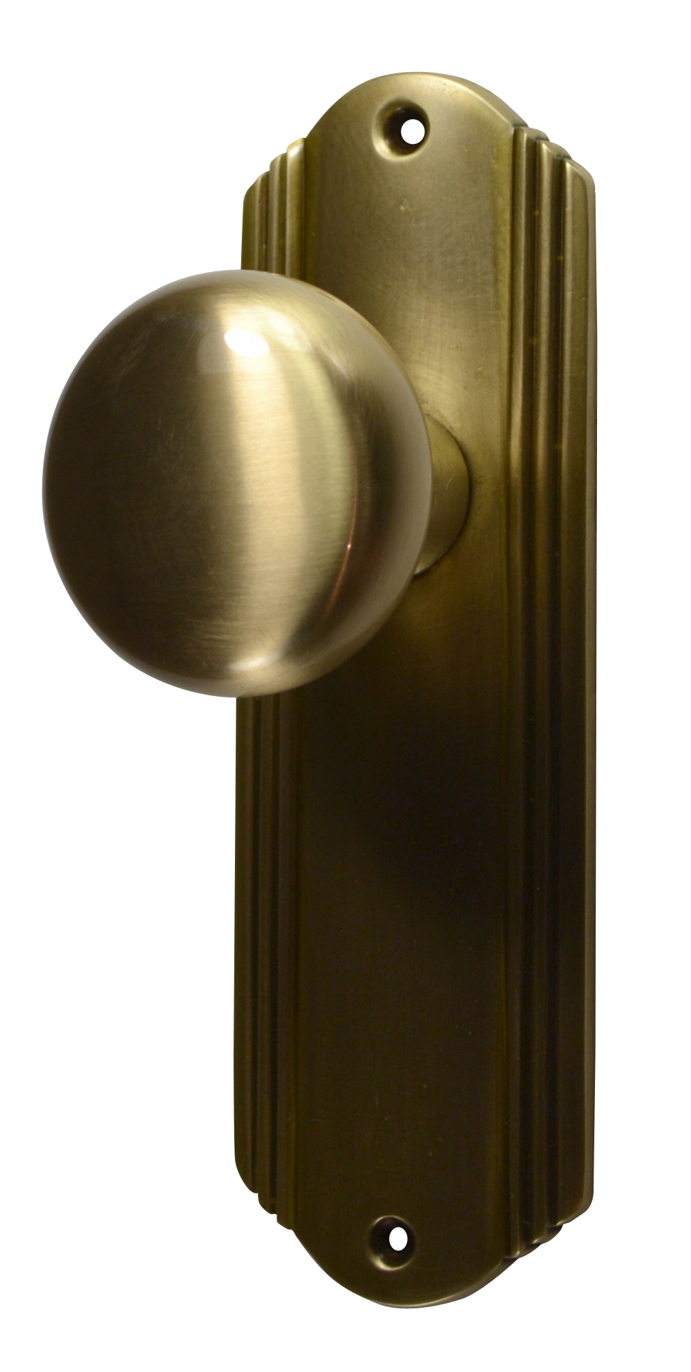 Solid Brass Round Door Knob Set With Art Deco Back Plate (Antique Brass  Finish)