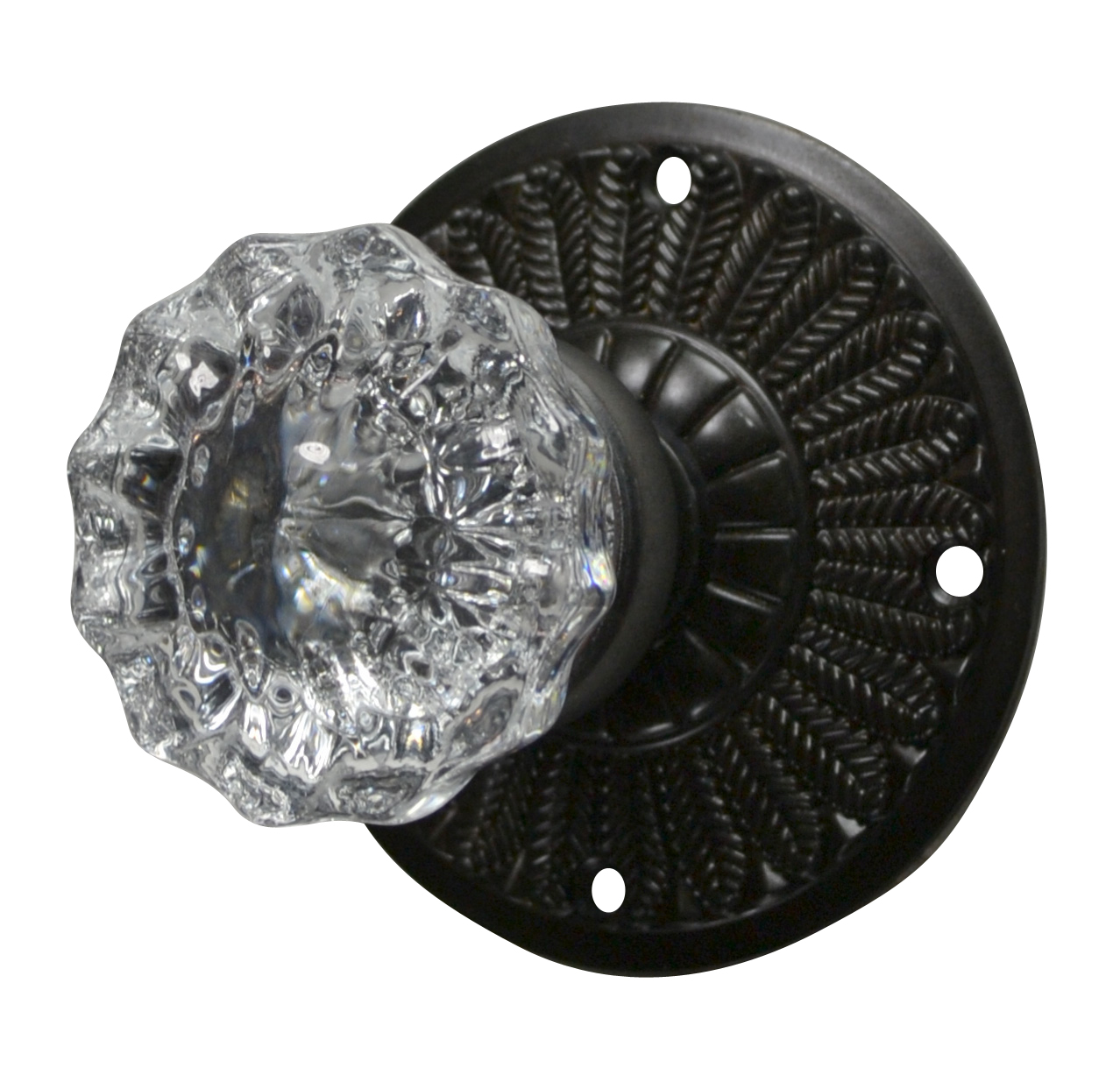 Feathers Crystal Fluted Door Knob (Oil Rubbed Bronze Finish)