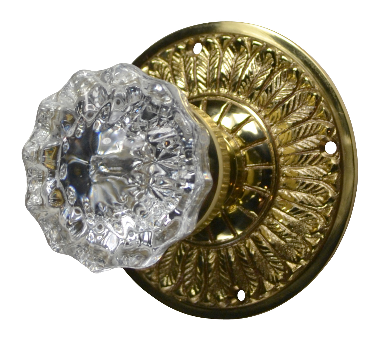 Feathers Crystal Fluted Door Knob (Polished Brass Finish)