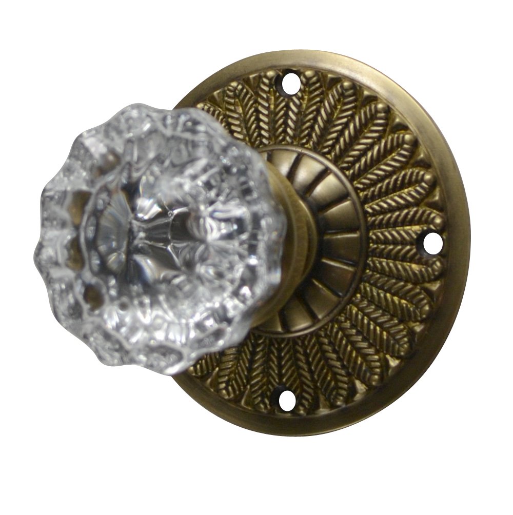 Feathers Crystal Fluted Door Knob (Antique Brass Finish)