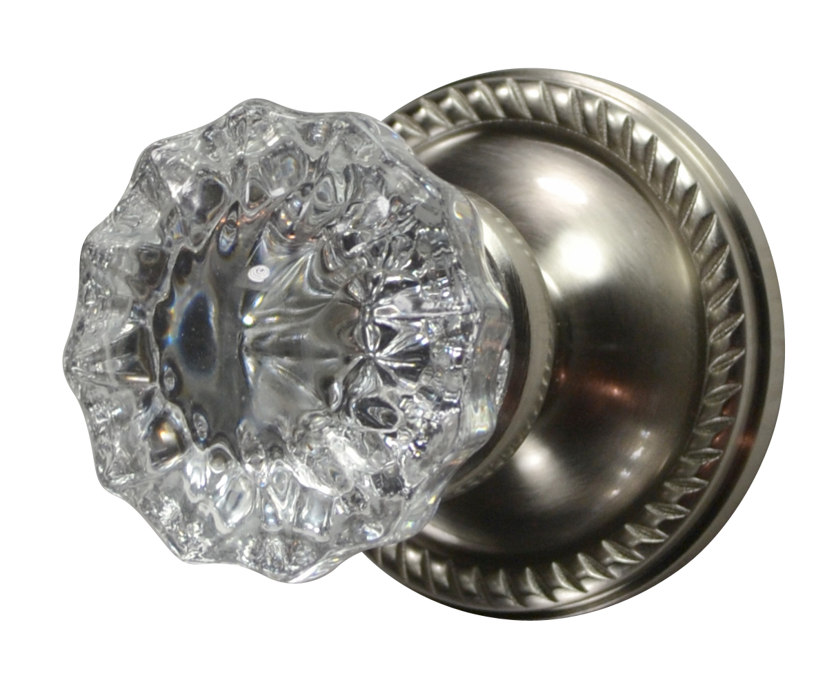 Crystal Fluted Door Knob (Georgian Roped Plate Brushed Nickel)