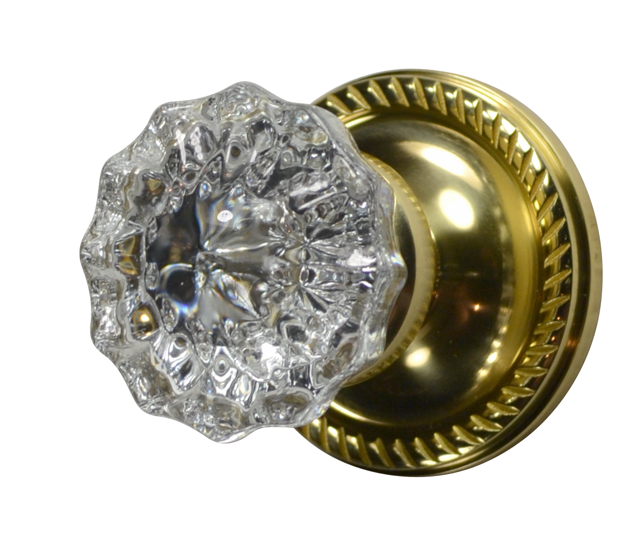 Crystal Fluted Door Knob (Georgian Roped Plate Polished Brass)