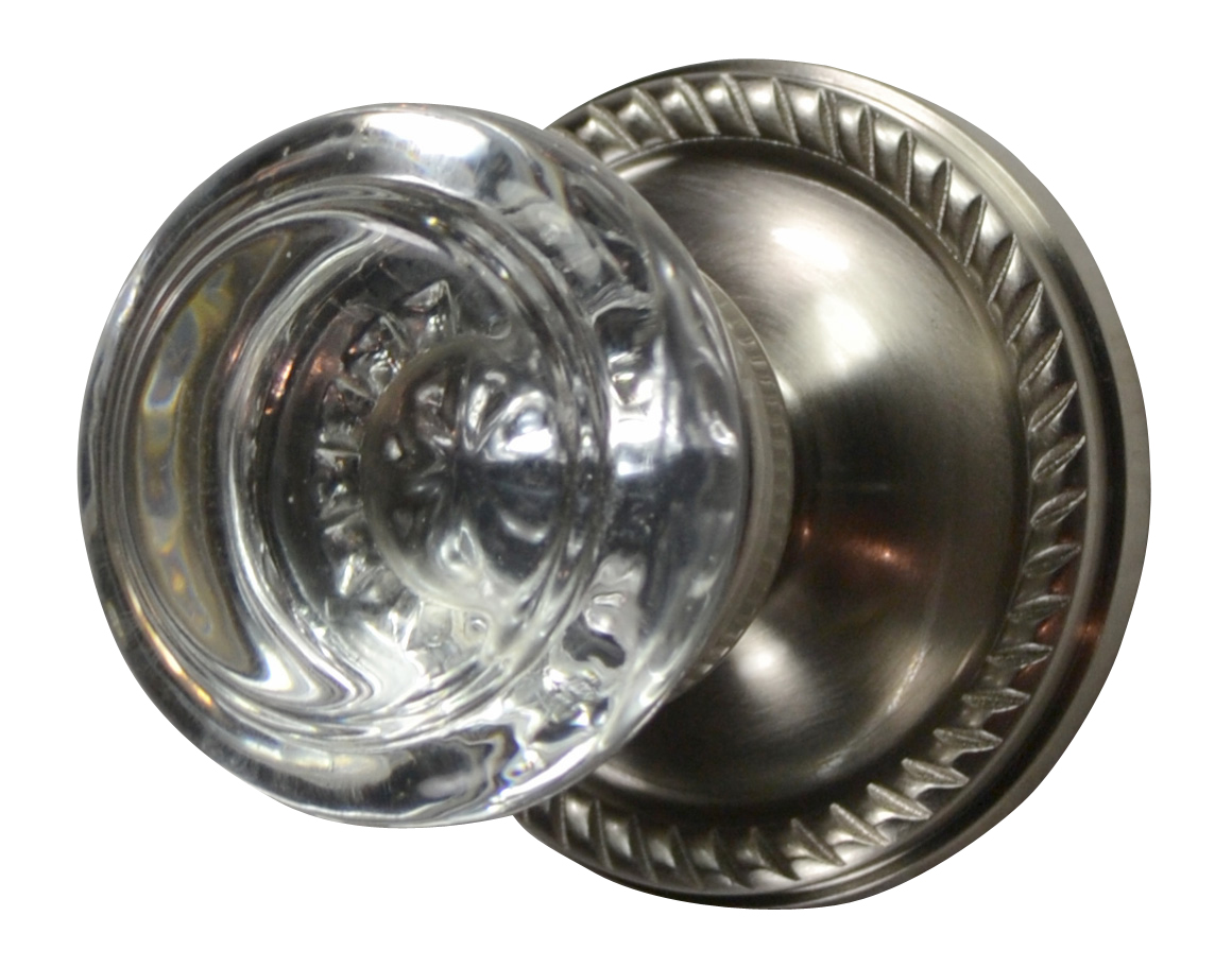Savannah Crystal Round Door Knob (Georgian Roped Plate Brushed Nickel)