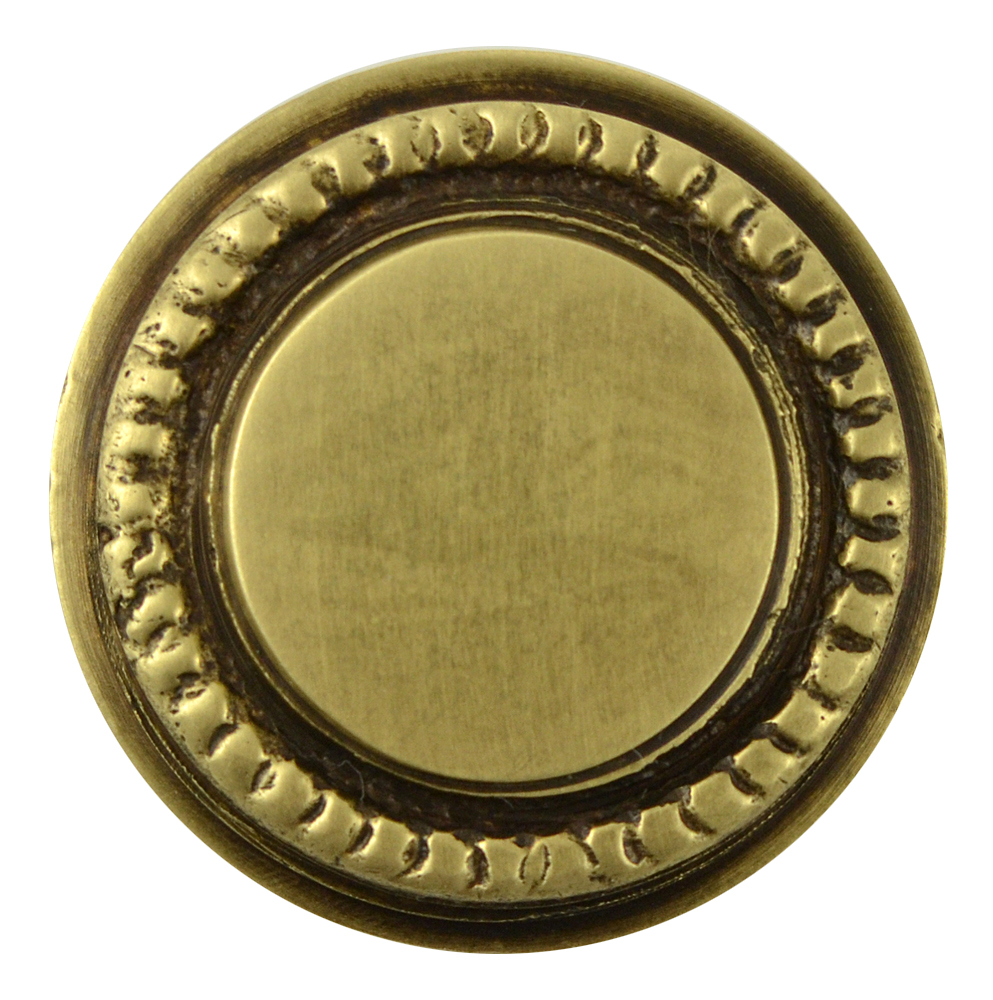 1 1/4 Inch Solid Brass Round Knob with Beaded Pattern Border (Antique Brass Finish)