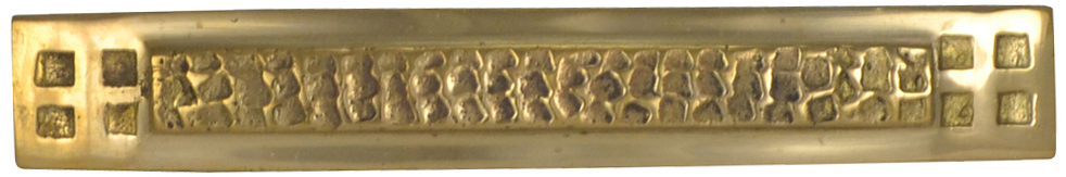 5 Inch Solid Brass Craftsman Hammered Drawer Pull (Polished Brass Finish)
