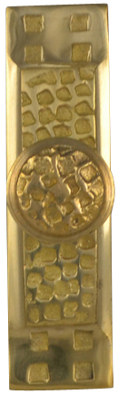 3 1/2 Inch Rectangular Craftsman Cabinet Knob with Backplate (Polished Brass Finish)