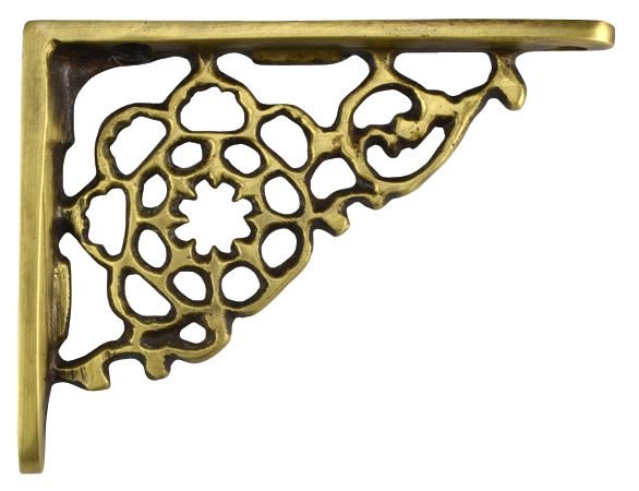 4 Inch Solid Brass Star Shape Shelf Bracket