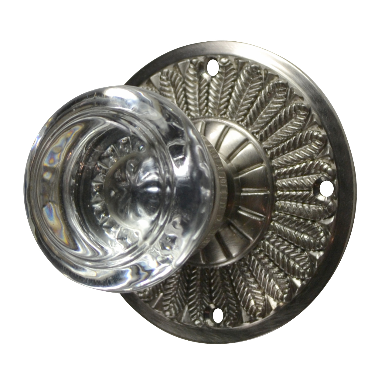 Feathers Round Glass Door Knob (Brushed Nickel Finish)