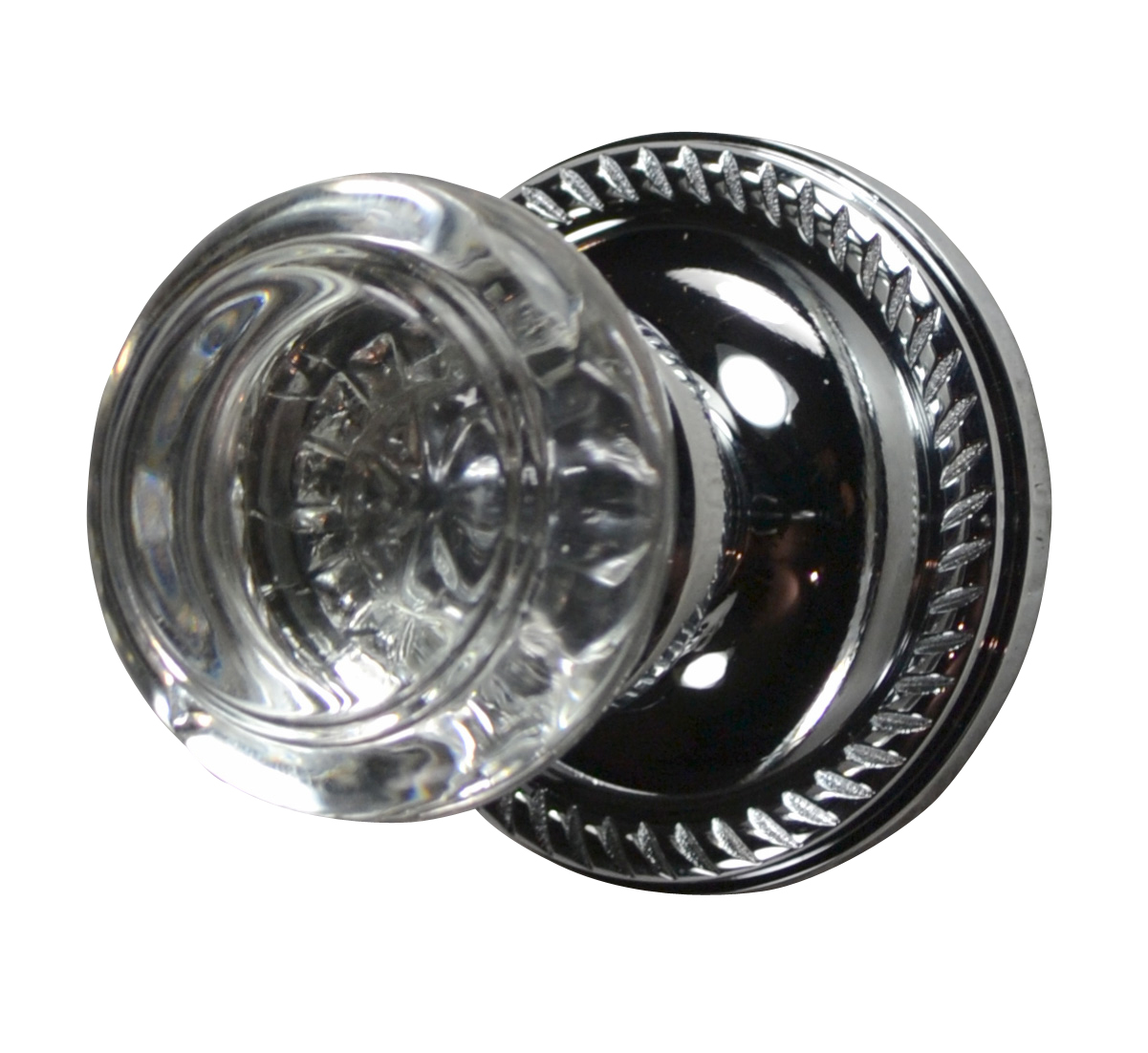 Savannah Crystal Round Door Knob (Georgian Roped Plate Polished Chrome)