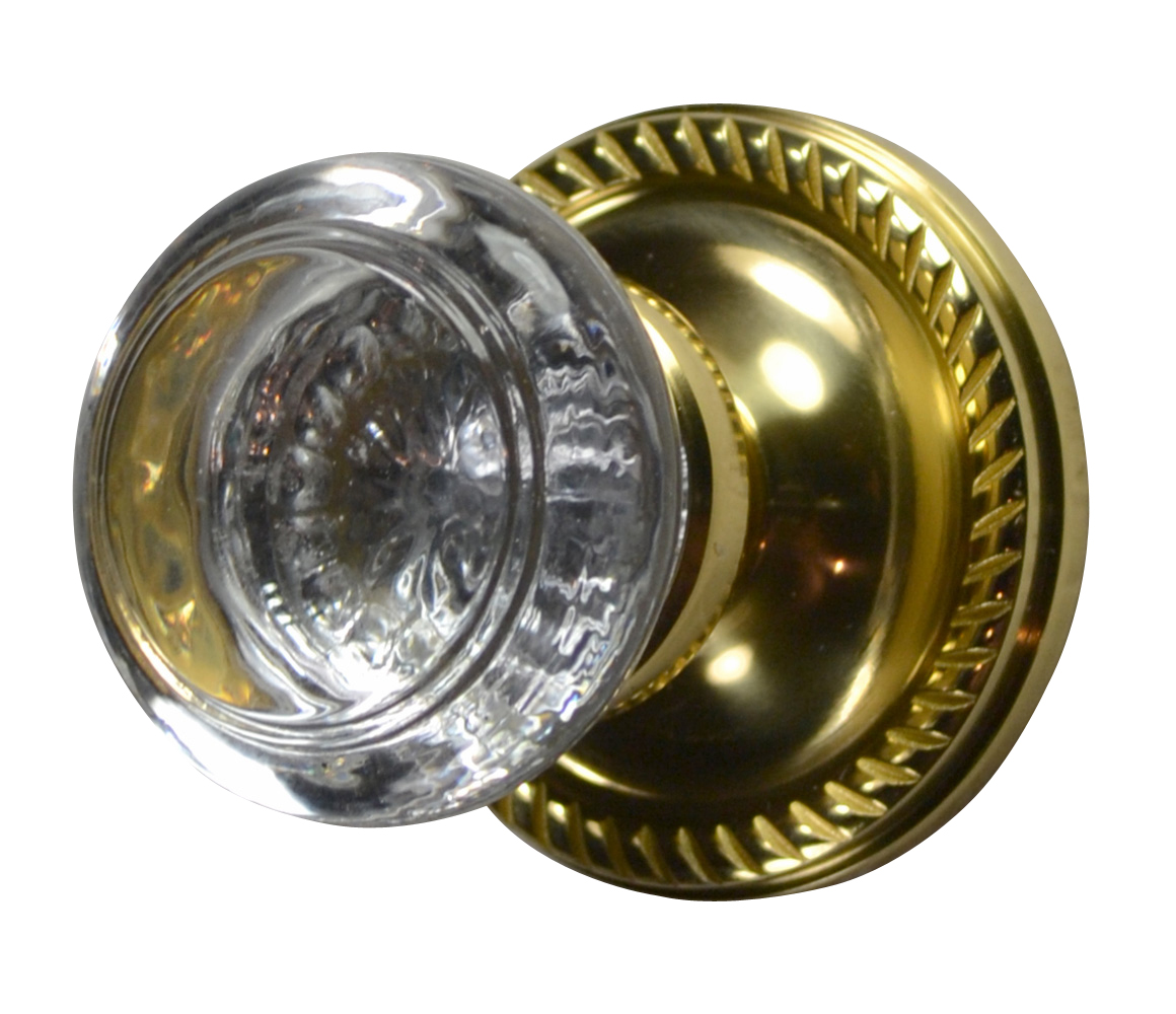 Savannah Crystal Round Door Knob (Georgian Roped Plate Polished Brass)