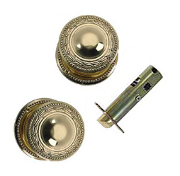 Solid Brass Laurel Style Door Knob Set  (Polished Brass Finish)