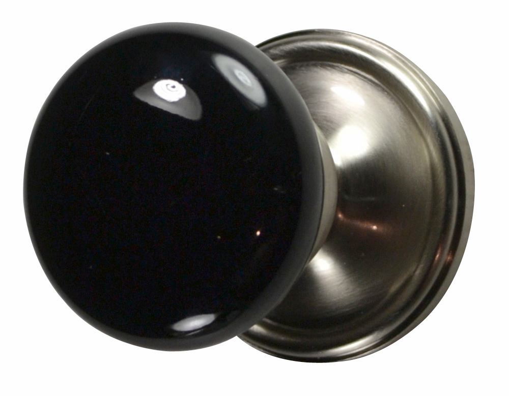Black Porcelain Door Knob (Brushed Nickel Victorian Plate)