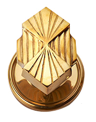 Solid Brass Art Deco Fanfare Door Knob Set (Polished Brass Finish)