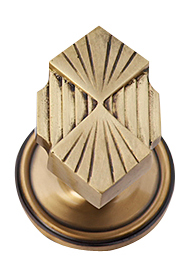 Solid Brass Art Deco Fanfare Door Knob Set (Antique Brass Finish)