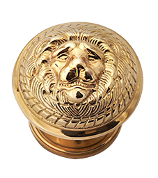 Solid Brass MGM Lion Head Door Knob Set (Polished Brass Finish)