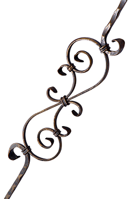 44 Inch Solid Iron Scroll Style Stair Rail (Oil Rubbed Bronze Finish)