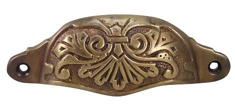 Louis XV Cup Pull in Antique Brass