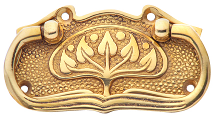 Art Nouveau Polished Leaf Pattern Drawer Pull