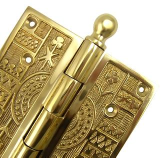 4 x 4 Inch Ball Tipped Victorian Solid Brass Hinge (Polished Brass Finish)