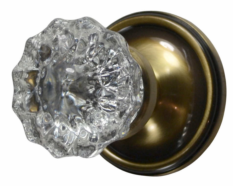 Regency Fluted Glass Door Knob (Victorian Plate Antique Brass)