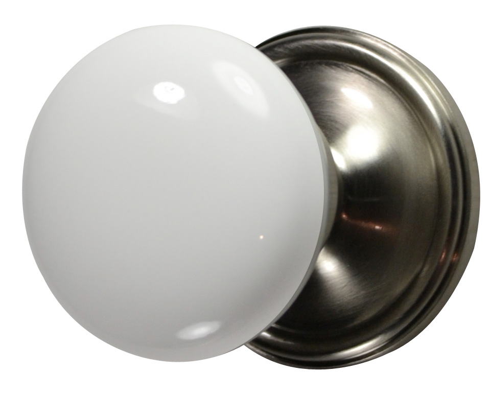 White Porcelain Door Knob Brushed Nickel Victorian Plate