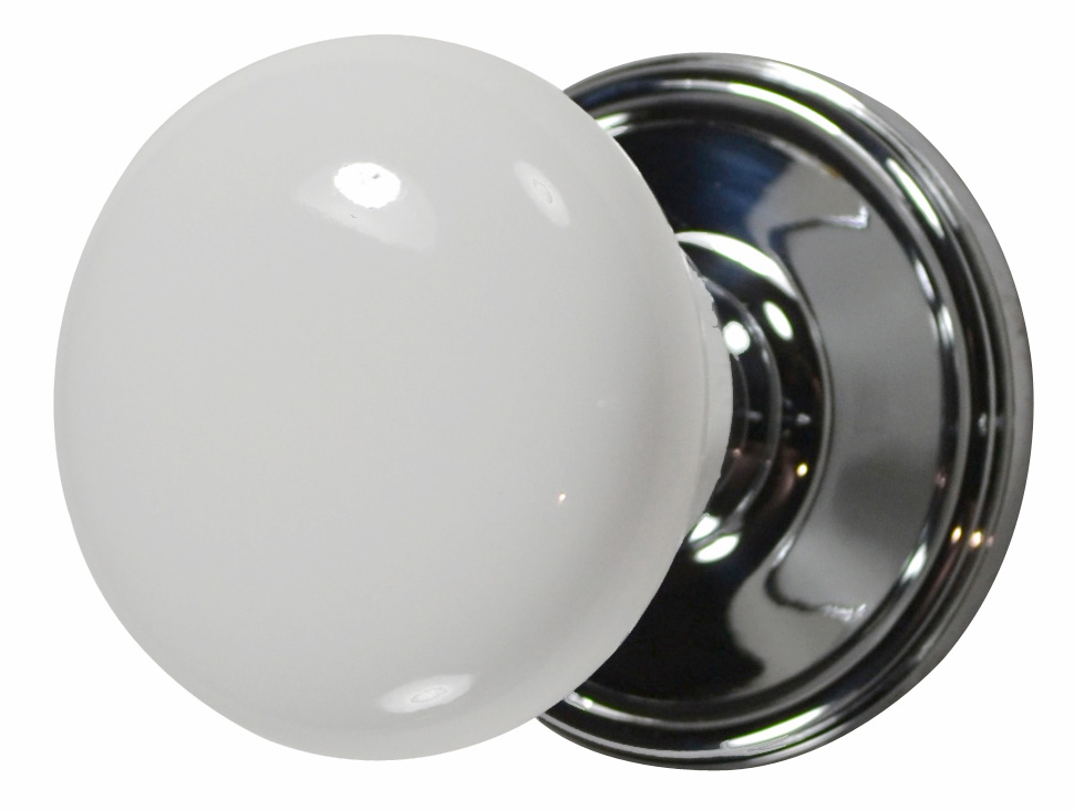 Merveilleux White Porcelain Style Door Knob (Polished Chrome Victorian Plate)