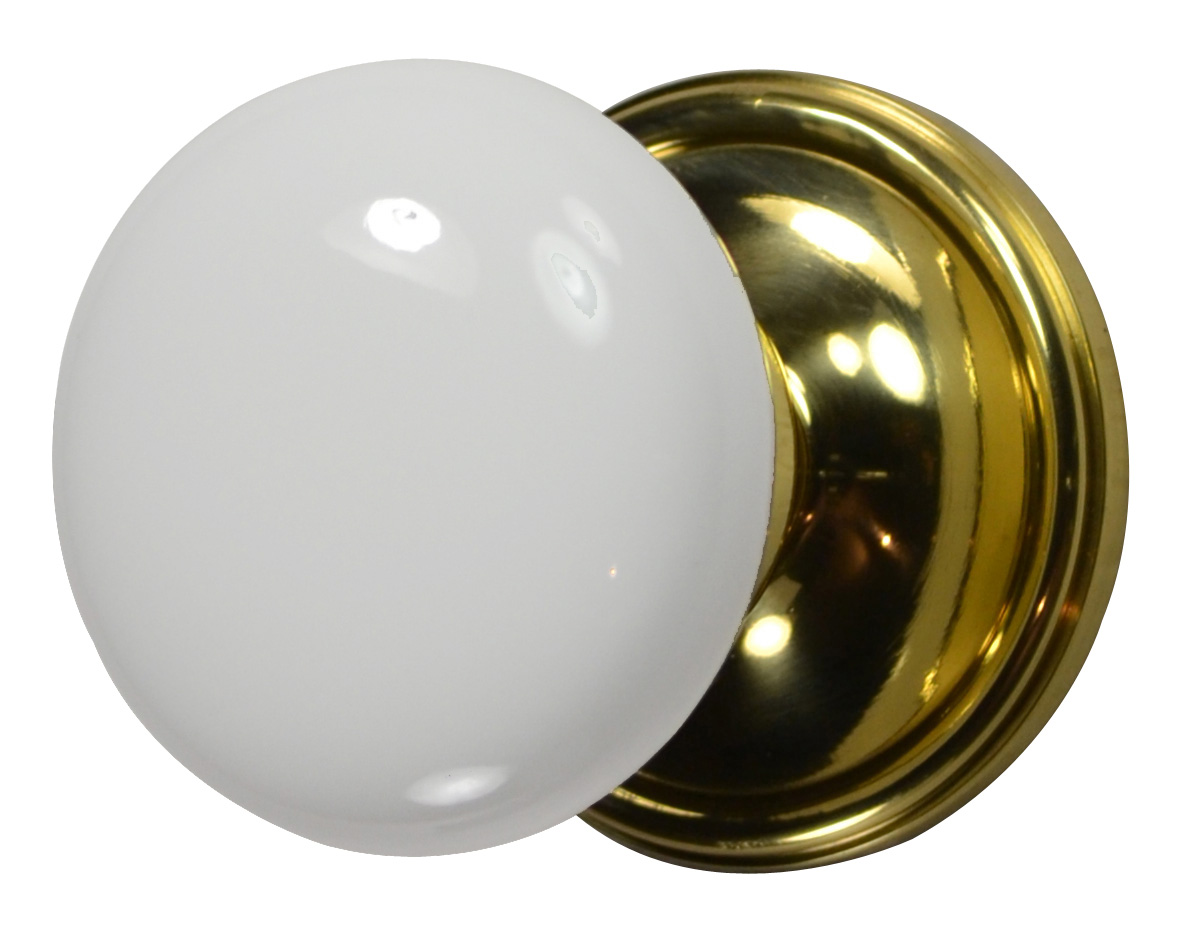 White Porcelain Door Knob (Polished Brass Victorian Plate)