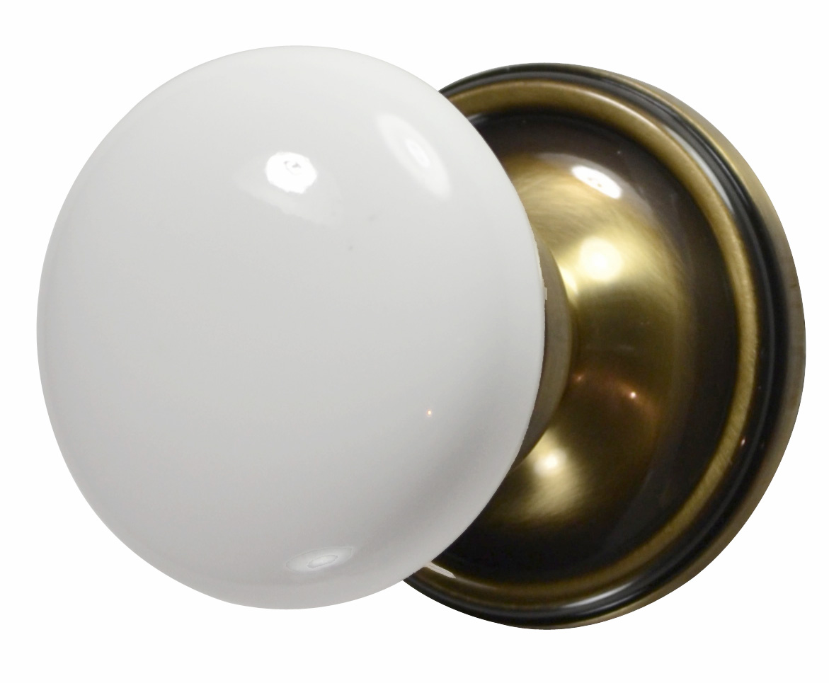 White Porcelain Door Knob (Antique Brass Victorian Plate)