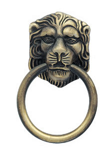 2 1/8 Inch Tall Lions Head Ring Pull (Antique Brass Finish)