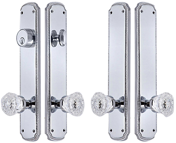 11 1/2 Inch Georgian Roped Double-Door Deadbolt Entryway Set (Polished Chrome Finish)