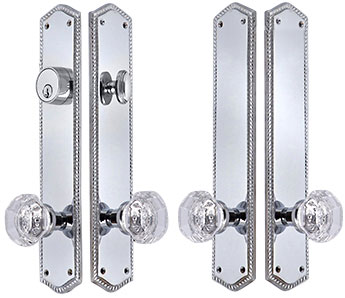 Georgian Roped Oval Double-Door Deadbolt Entryway Set (Polished Chrome Finish)