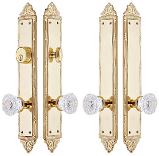 Victorian Oval Double Door Deadbolt Entryway Set (Polished Brass Finish)