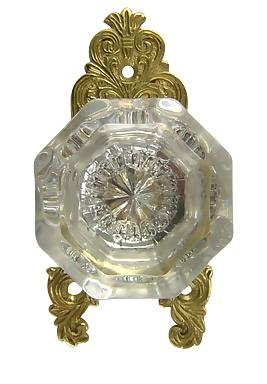 Octagon Glass Ornate Victorian Doorknob (Polished Brass Finish)