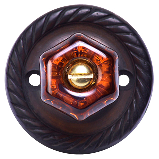 1 Inch Warm Amber Octagon Crystal Cabinet Knob (Oil Rubbed Bronze Base)