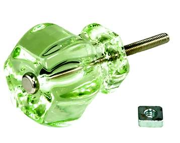 DEPRESSION GREEN GLASS CABINET KNOBS