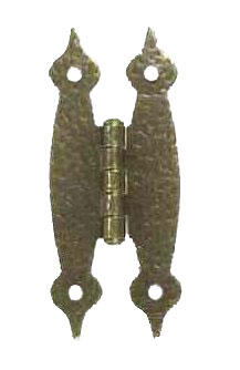 3 1/2 Inch Metal Hinges: Pair of Antique Brass Finish Hammered Metal Hinges - H Type (Flush Finish)