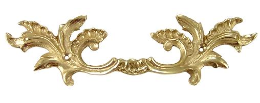6 5/8 Inch Solid Brass Ornate French Leaves Drawer Pull (Polished Brass Finish)