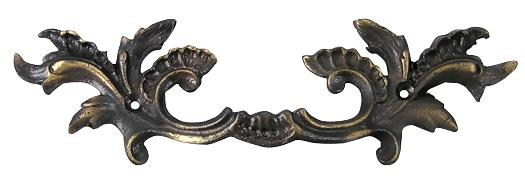 6 5/8 Inch Solid Brass Ornate French Leaves Drawer Pull (Antique Brass Finish)