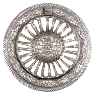 2 3/4 Inch Solid Brass Radiant Flower Ring Pull (Brushed Nickel Finish)