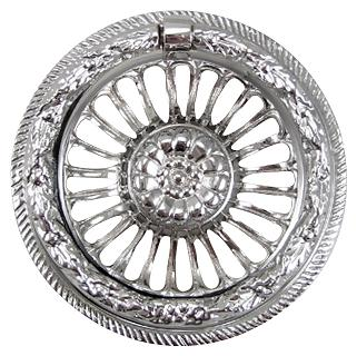 3 5/8 Inch Solid Brass Radiant Flower Ring Pull (Polished Chrome Finish)