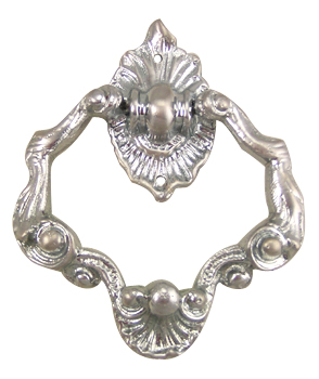 4 Inch Ornate Shell Pattern Ring Pull (Brushed Nickel Finish)