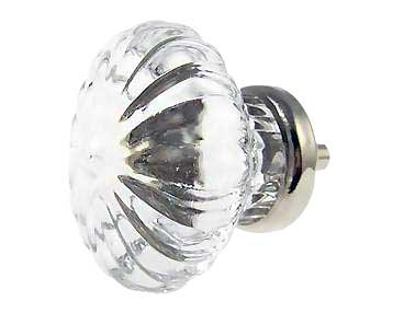 1 3/4 Inch Large Crystal Swirl Glass Knobs (Polished Chrome Base)